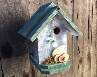 Wooden Birdhouse Decorated With Real Driftwood Circles and Moss, Rustic Functional Bird House For Birds, White & Moss Green, Item #505307671
