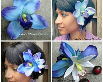 Blue Orchid hair flower clip, single bloom, pin-up, blue pin up, double bloom, cherries
