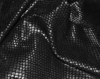 """Leather 12""""x12"""" Clear BLACK FISH Scales on Black cowhide 2.5-3oz /1-1.2mm PeggySueAlso™ E3400-20"""
