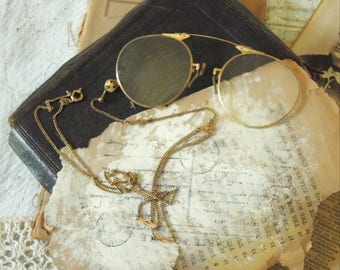Vintage / Antique Pince Nez Glasses / Antique Gold Filled Pince Nez with Case & Chain