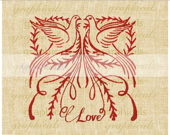 Valentine instant clip art digital download image Folk art dove Love for iron on transfer to fabric paper burlap tote pillows card No. 483