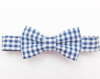 Blue gingham hair bow,  baby hair bow, checkered bow clip, bow headband, checkered bow tie, hair bow, gingham headband, blue check bow