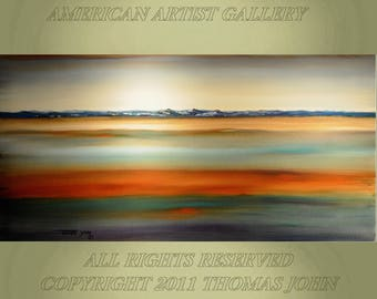 ORIGINAL ABSTRACT Painting  Large 24X60x2 Sunset Seascape No Frame Needed By Thomas John