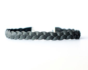 Braided Leather Choker / Necklace / Somber Gray