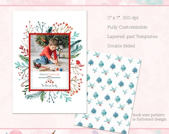 Christmas Card Template, 5x7 Holiday Card (double sided) - Instant Download