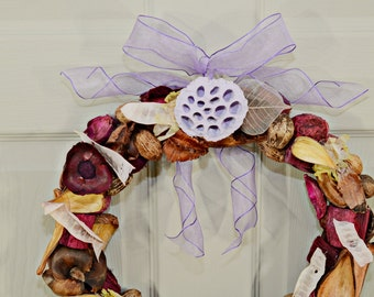 Dried Lavender Potpourri Wreath , Country Western , Home Decor , Gift Ideas , Wreaths , Year Round Wreath , Unique Wreaths , Handmade Wreath