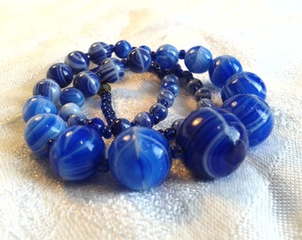 Vintage Edwardian End of Day Blue Glass Bead Necklace, Slag Glass.