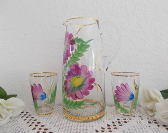 Vintage Gold Rim Pink Magenta Purple Glass Floral Picture Set Hollywood Regency Elegant Garden Cottage French Country Farmhouse Home Decor