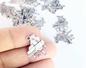 15pc piano charms in an antiqued silver color  destash lot