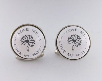 He Loves Me He Loves Me Not Cufflinks Signed Duchamp London Porcelain Cufflinks Men's Jewelry Accessories Gifts