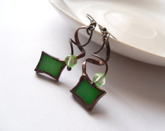 Wire earrings, stained glass earrings, best friend gift, bohemian jewelry, green beaded earrings, statement jewelry, fashion jewelry