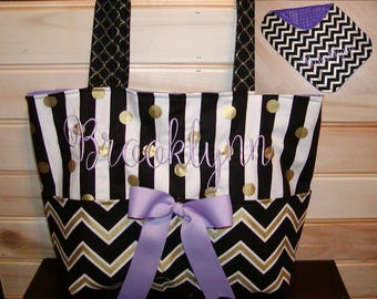 Diaper bag N Changing Pad Set..Chevron N Purple..with name Bow on request, choose end pockets and a font. Customize yours now.