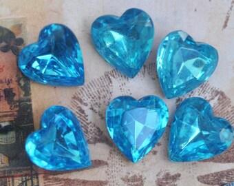 SIX vintage Czech glass hearts, 14 mm Aquamarine