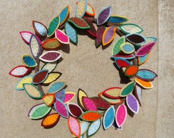 "Felt Leaf Wreath 18"" Across Cheerful Summer Colors"