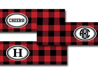 Personalized Red and Black Buffalo Plaid Printable Water Bottle Labels