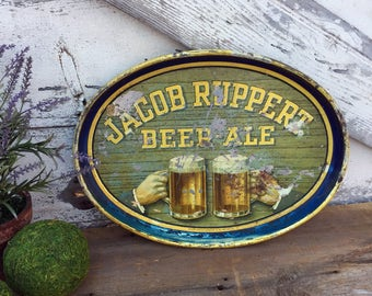 Vintage Jacob Ruppert Beer - Ale Tray - 1939 - Electro Chemical Engraving Co. - Oval