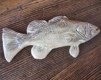 "Handmade Studio Pottery Realistic Fish Wall Hanging Plaque 8"" Artist Mark 1960s"