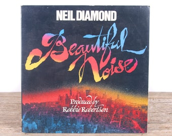 "Vintage 1976 Neal Diamond ""Beautiful Noise"" Record / Antique Vinyl Records / Old Records Music Party Decor / Rock Country Pop"