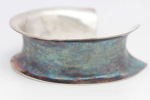 Anticlastic Sterling Cuff, Sterling Silver Cuff, Blue Pink Patina, Le Chien Noir, Unisex Statement Cuff