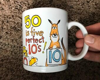 90s Fun 50th Birthday Mug - 5 Perfect 10s