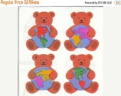 ON SALE Vintage Sandylion Pearl Finish Teddy Bears and Globes Stickers 80's Opal Rainbow Earth