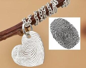 Fingerprint Necklace, Fingerprint Jewelry, Engraved Necklace, Engraved Jewelry, Personalized Necklace, Bridesmaid Gift, Best Friend, Sister