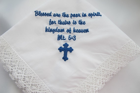 Embroidered Handkerchief with a favorite Bible Verse