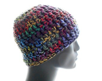 Colorful Beanie Hat, Crochet Hat, Tweedy Vegan Beanie, Women's Hat, Men's Hat, Medium Size