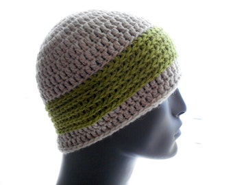 Men's Wool Hat, Crochet Beanie Hat, Contrast Texture Wide Stripe, Undyed Tan Heather and Avocado Hat, Small Size