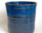 Utensil Holder, Blue Kitchen Pottery Spoon Jar, Wine Chiller, Handmade Ceramic Crock