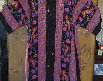 80s bird of paradise print Ruth Norman NY for Neiman Marcus kaftan style loungewear