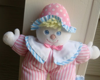 Eden  Pink Stripe little girl Clown Rattle