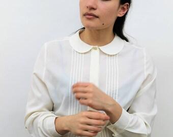 Cream Peter Pan Collar Blouse Size UK 12, US 8, EU 40