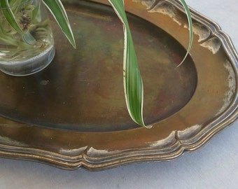 Oval Brass Serving Tray, Vintage Brass Patina Decor, Jungalow Style Distress Platter, Victorian Decoration, Vintage lover Newlywed Gift