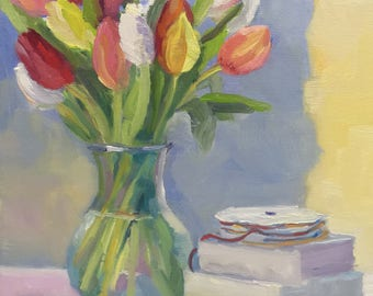 Fresh Tulips Still Life Oil Painting on Canvas Art Flowers Colorful