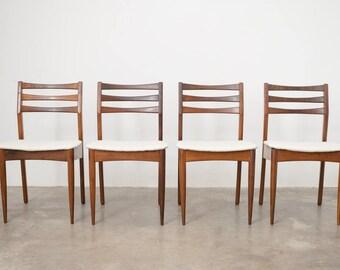 4 Mid Century Teak Dining Chairs