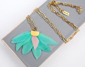 Pastel Mint Feather statement necklace by Pardes