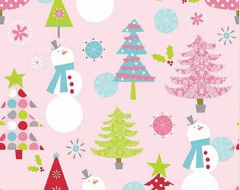 Christmas Trees and Snowmen on Pink From Riley Blake