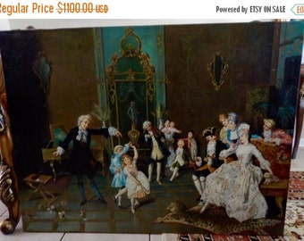 Sale Antique Vintage Oil Painting 18th C. Italian Rococo Period Interior Scene O/C Signed Art Home Decor Unframed