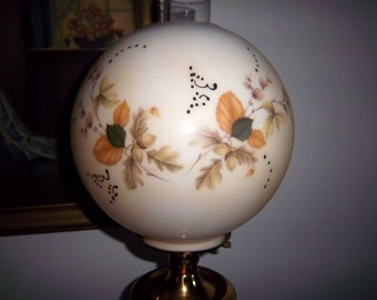"Vintage 10"" GWTW Ball Shade Oak Leaves & Acorns Kerosene Oil Parlor Banquet Lamp"