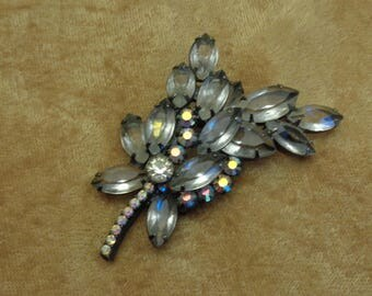 Juliana Jewelry Verified Juliana Clear Rhinestone Brooch with Clear AB Accents in Japanned Setting D&E Juliana Two Tiered Rhinestone Pin