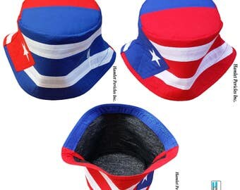 Cuba Puerto Rico Combo Flag XL Bucket Hat | Cuba Flag Puerto Rico Flag | Country Hat | Red White Blue Hat by Hamlet Pericles | HP31217