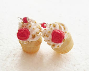 Red Rose Cupcake Earrings. Polymer Clay.