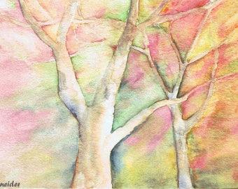 Watercolor Print, Landscape, Trees, Sunset, Wall Decor