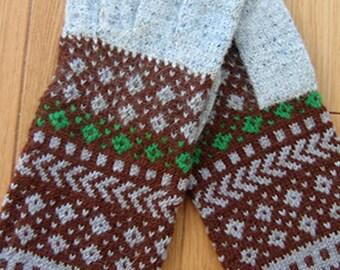 Wool men gloves. Hand knit gloves. Grey, brown and little green men gloves. Patterned wool gloves.