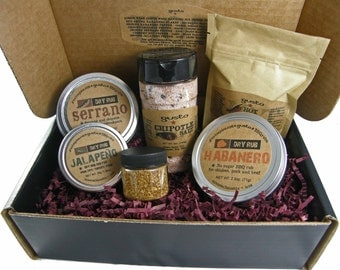 "Gusto's ""Hot Hot Hot"" Barbecue Gift Box w/ Red Savina Habanero, Serrano BBQ Rub, Chipotle Salt and more!"