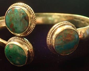 3 Stone Chrysocola in Brass Cuff