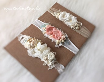Set of 3 Floral Headbands, Baby Girl Headbands, Soft Stretch Headbands, Newborn Headbands, Photo Props, Newborn Props, Natural Props