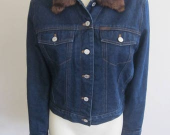 Ralph Lauren Jacket / Jean Jacket / 1980s / Denim / Womens / Faux Fur Collar / American Style / Classic / Preppy / Designer