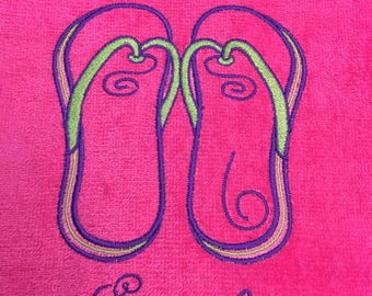 personalized,  beach towels, flip flops, for kids and adults, beach / bath towels, 30 x 60,